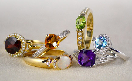 Colorful gemstone rings.