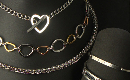 A selection of alternative metal necklaces.