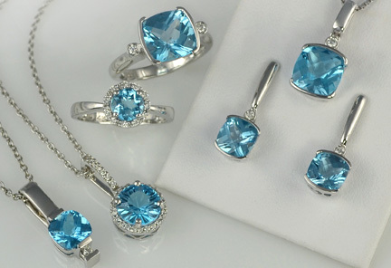 Beautiful blue topaz rings, earrings and necklaces.