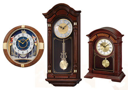 Wall-mounte clocks.